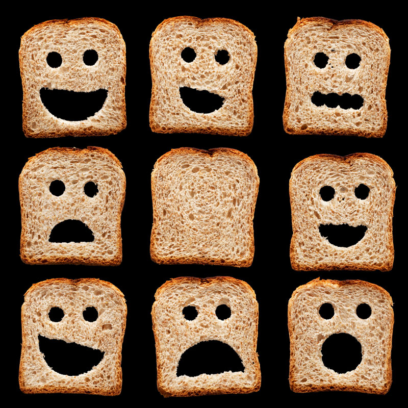 Toast with faces cut in them